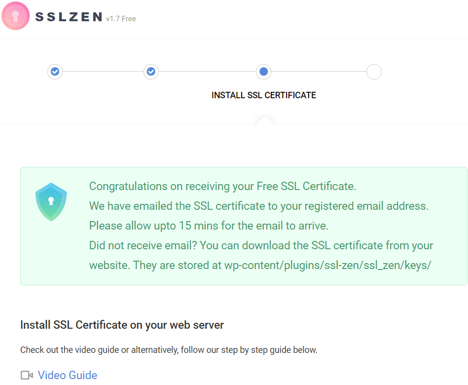 ssl certificate successful